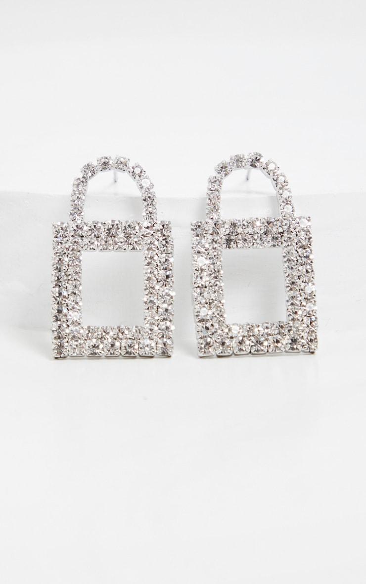 Silver Diamante Padlock Studs 3