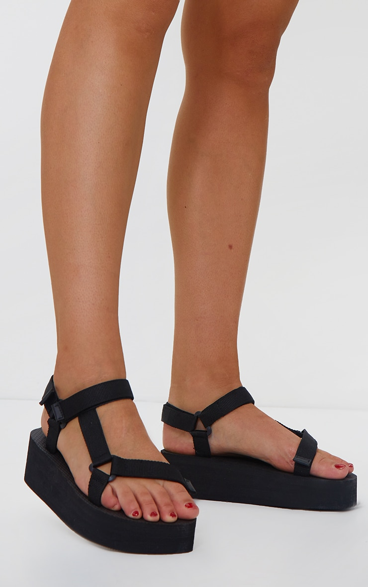 Black Wide Fit Flatform Sandals 2