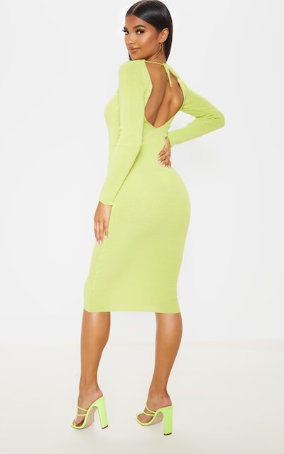 Lime Ribbed Knitted Maxi Dress