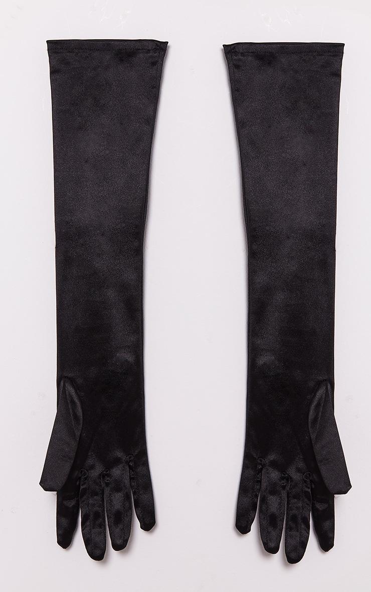 Black Satin Long Gloves 3