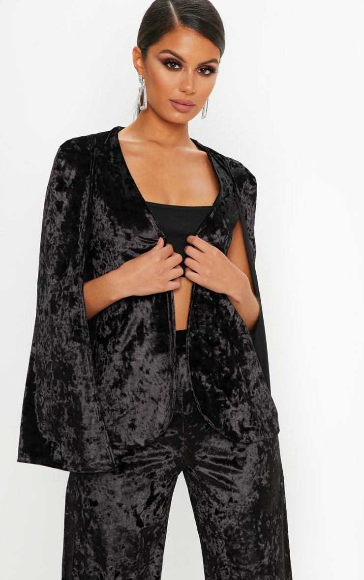 Velvet Black Cape Blazer 1