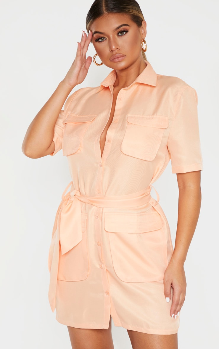 Peach Utility Short Sleeve Shirt Dress by Prettylittlething