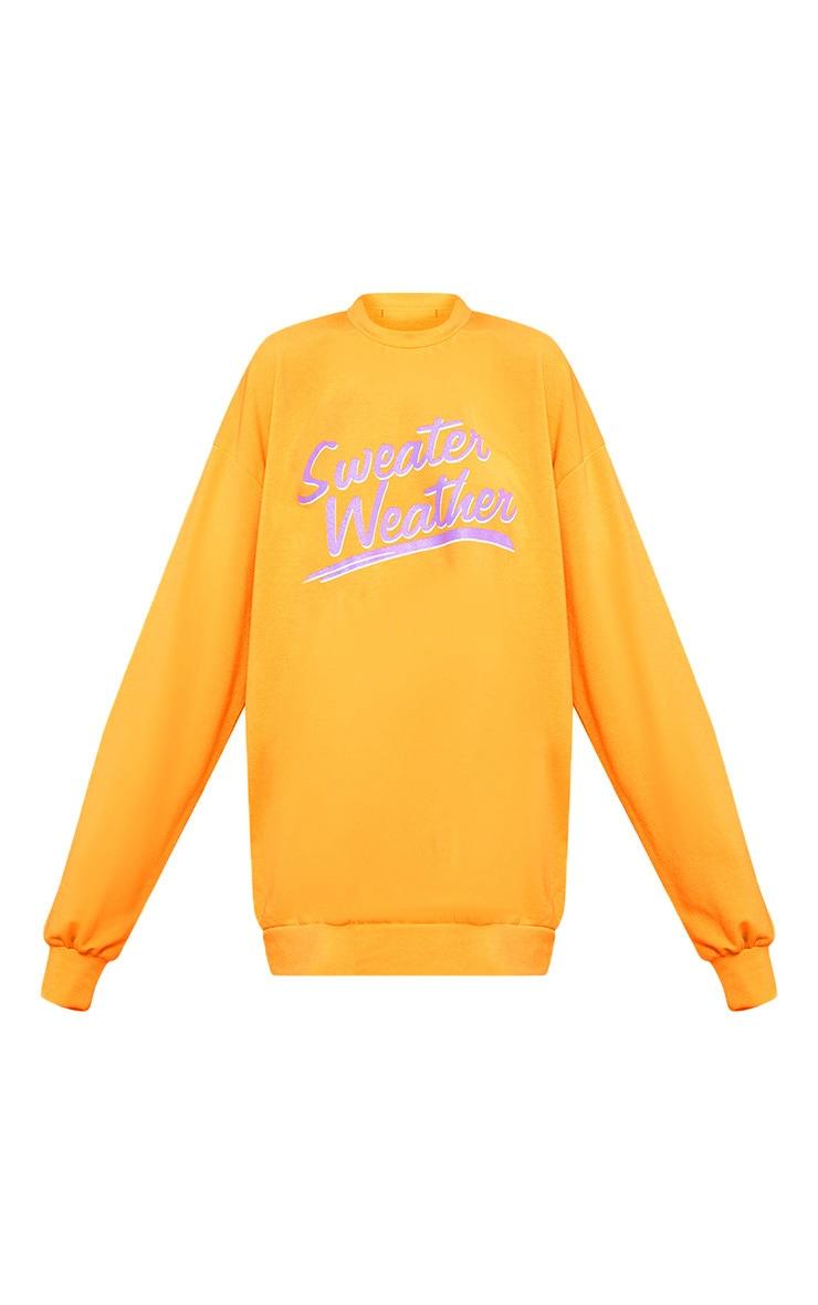 Orange Sweater Weather Slogan Sweater 3