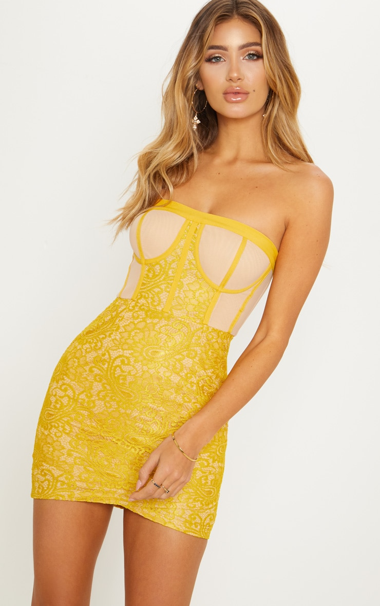 Mustard Bandeau Lace Cup Detail Bodycon Dress 1