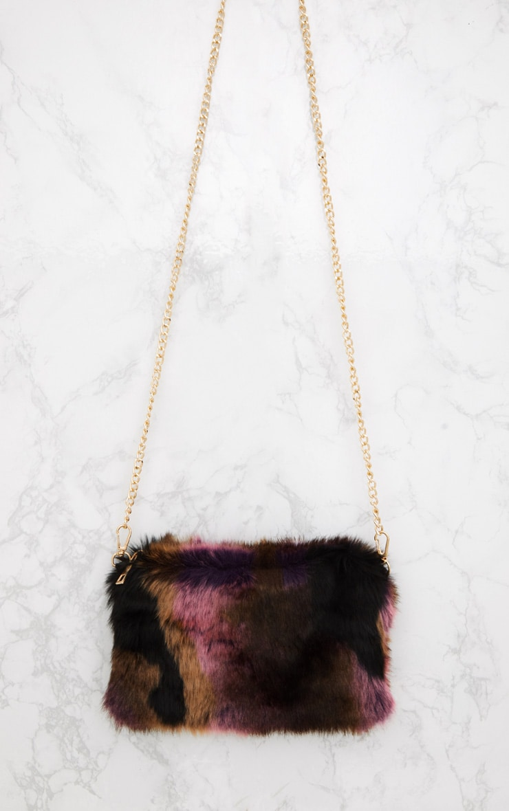 Multi Pink Faux Fur Shoulder Bag 3