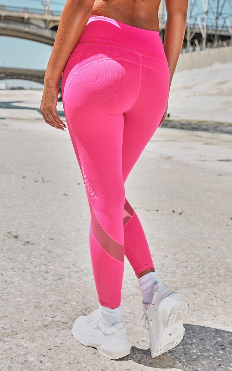 PRETTYLITTLETHING Hot Pink Sport Double Pocket Mesh Legging 3