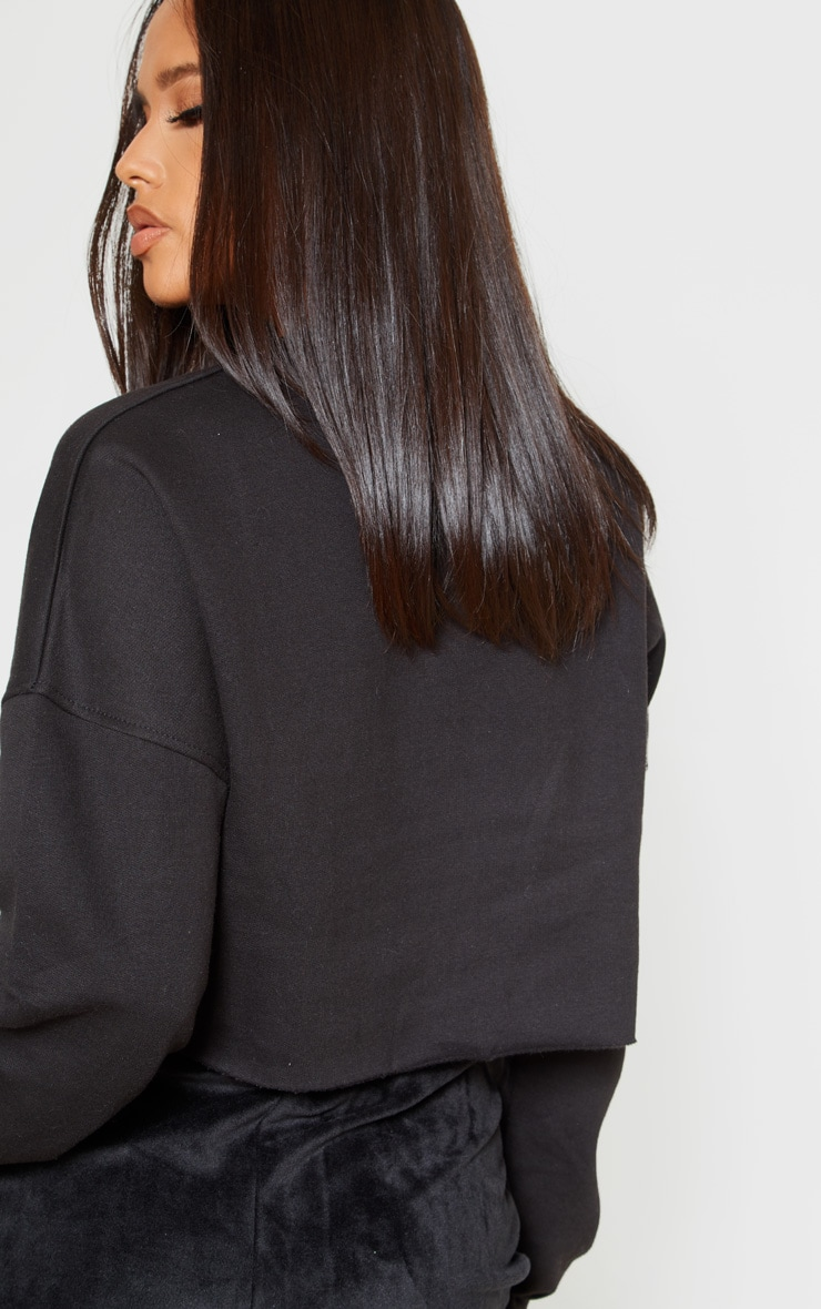 Black Its Ok Slogan Crop Sweater 2