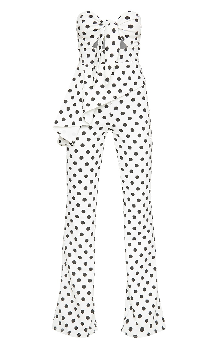 White Polka Dot Tie Front Peplum Jumpsuit  3