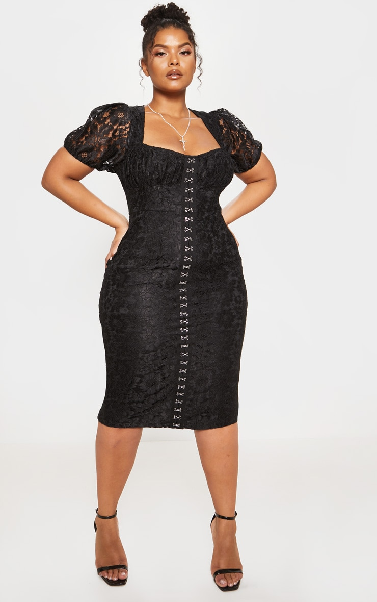 Black Lace Puff Sleeve Midi Dress
