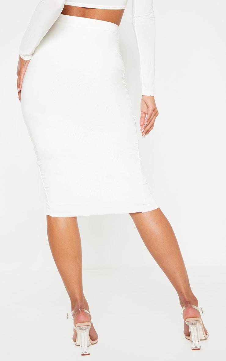 Cream Slinky Wrap Detail Midi Skirt 3