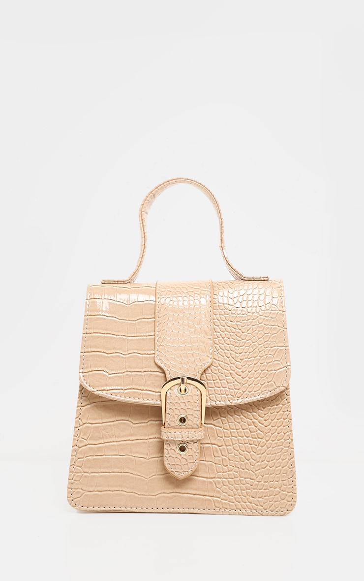 Fawn Patent Croc Front Buckle Mini Bag 2
