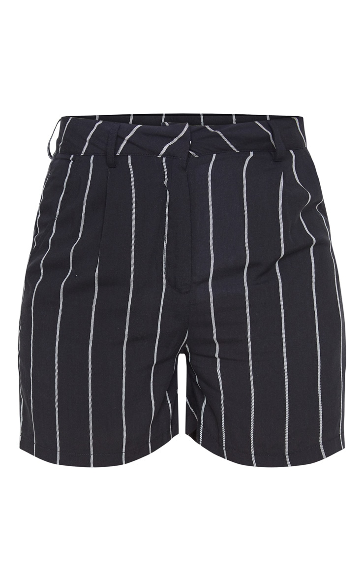 Black Pinstripe Woven Tailored Short 3