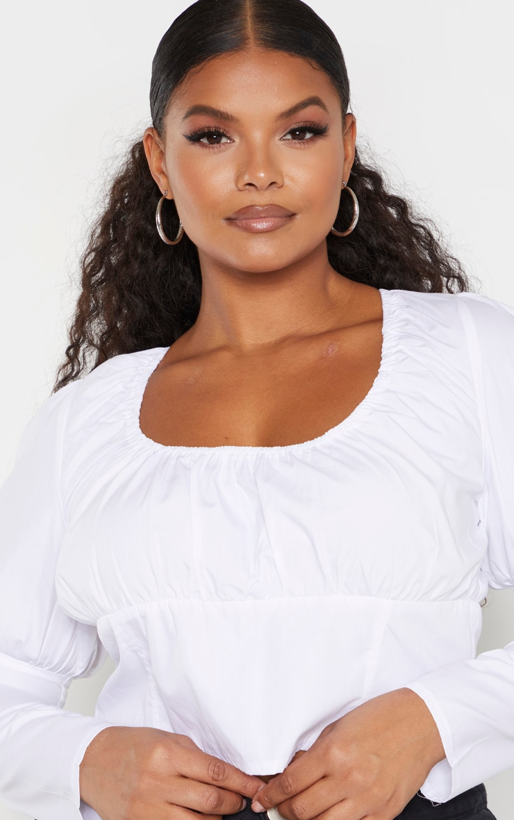 Plus White Puff Sleeve Detail Crop Top 5