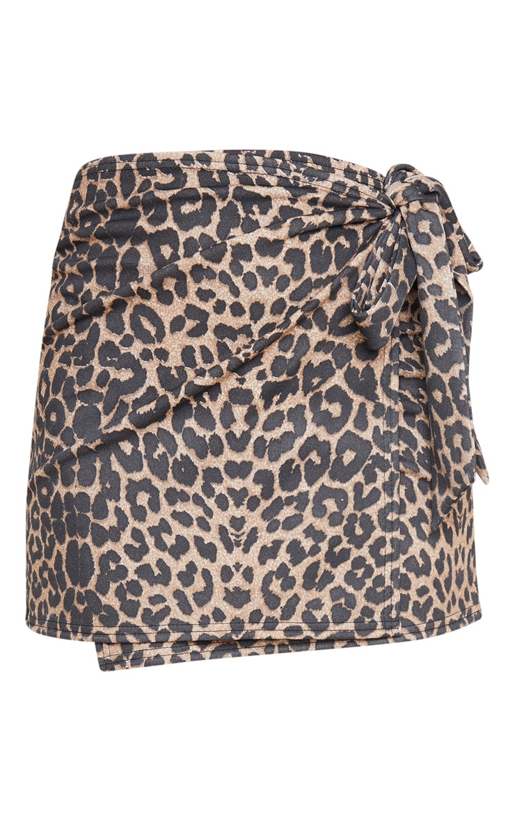 Tan Leopard Print Crepe Wrap Mini Skirt 3