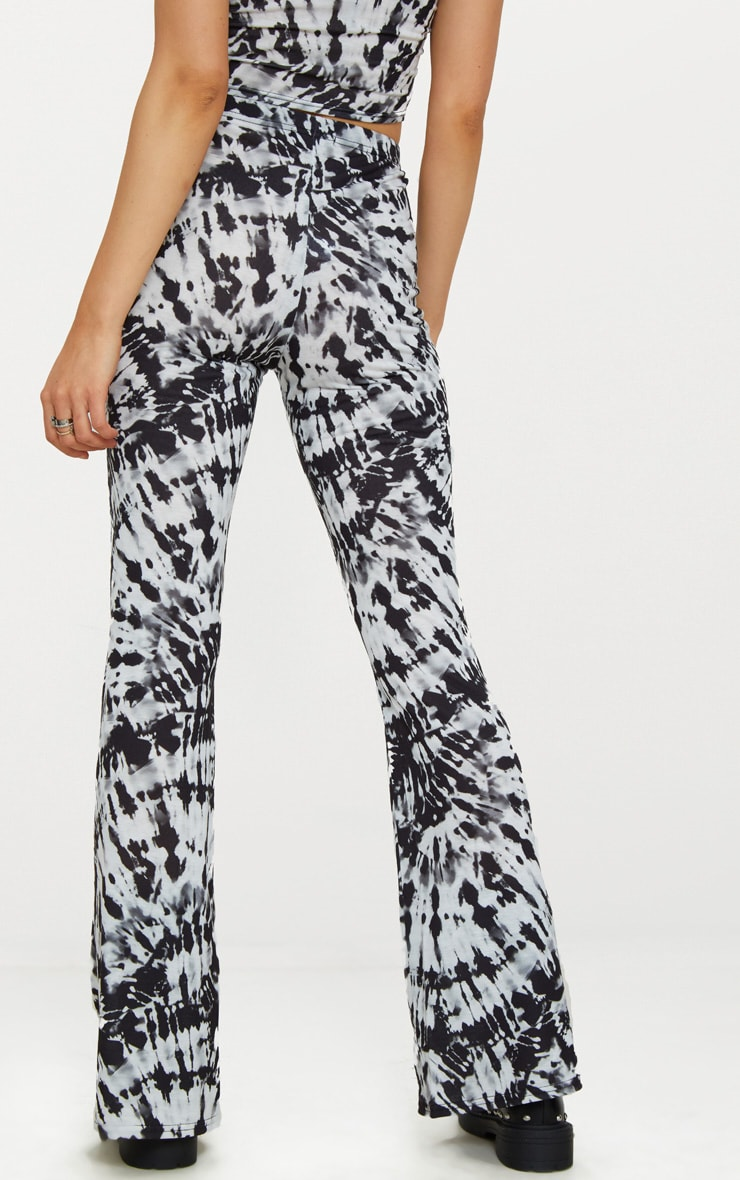 Black and White Tie Dye Jersey Flare Trousers 3