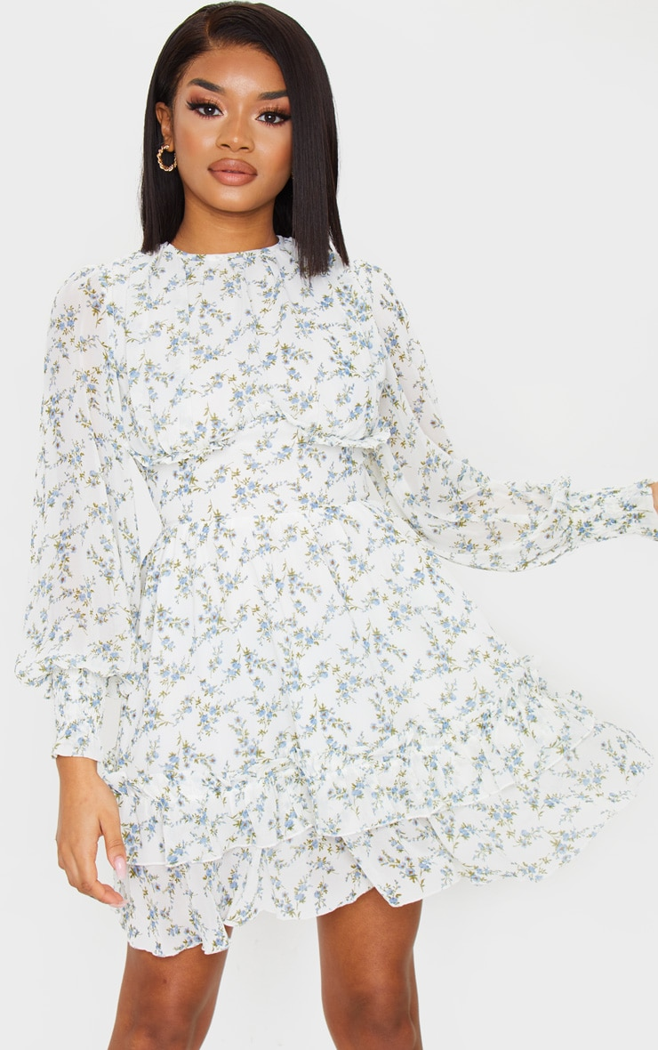 Petite Blue Floral Underbust Long Sleeve Dress 1