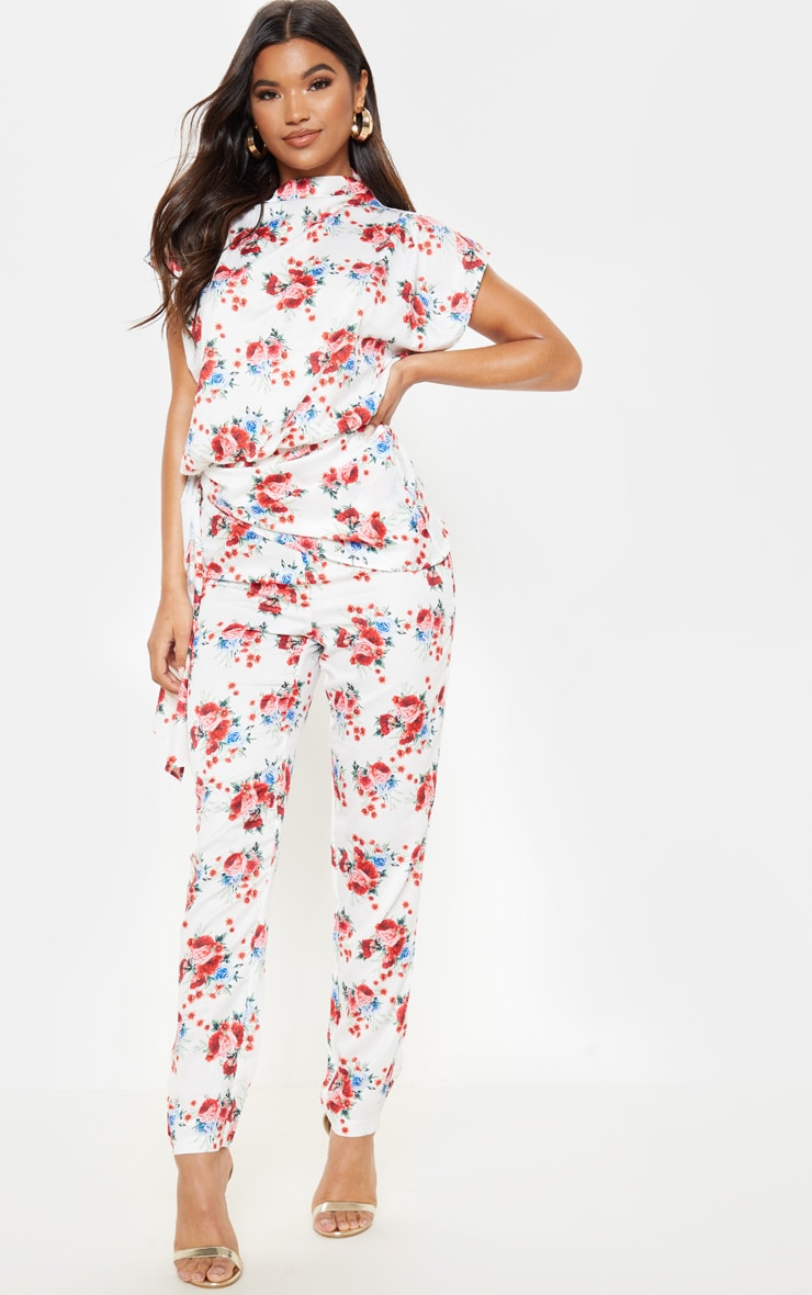 White Rose Print Woven High Waisted Straight Leg Pant 1