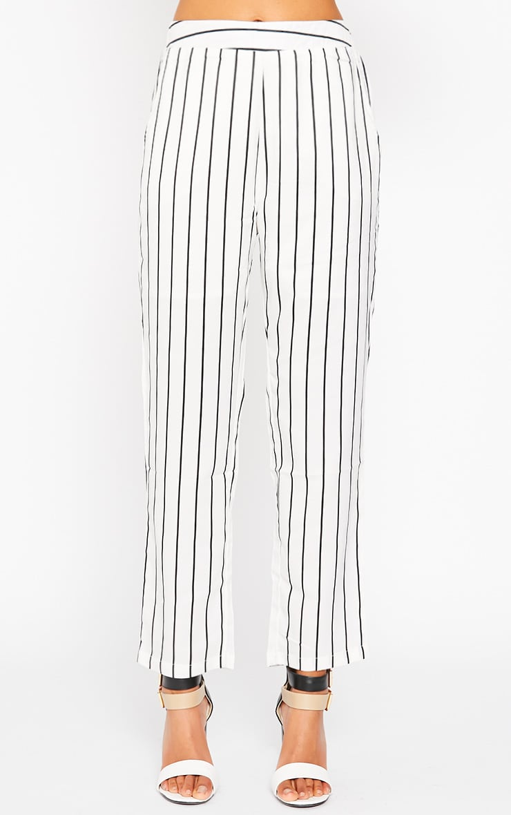 Ariela Cream Stripe Trousers 2