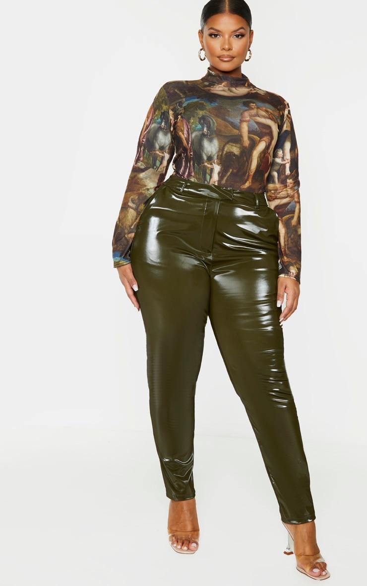 Plus Khaki Vinyl Skinny Trousers 1