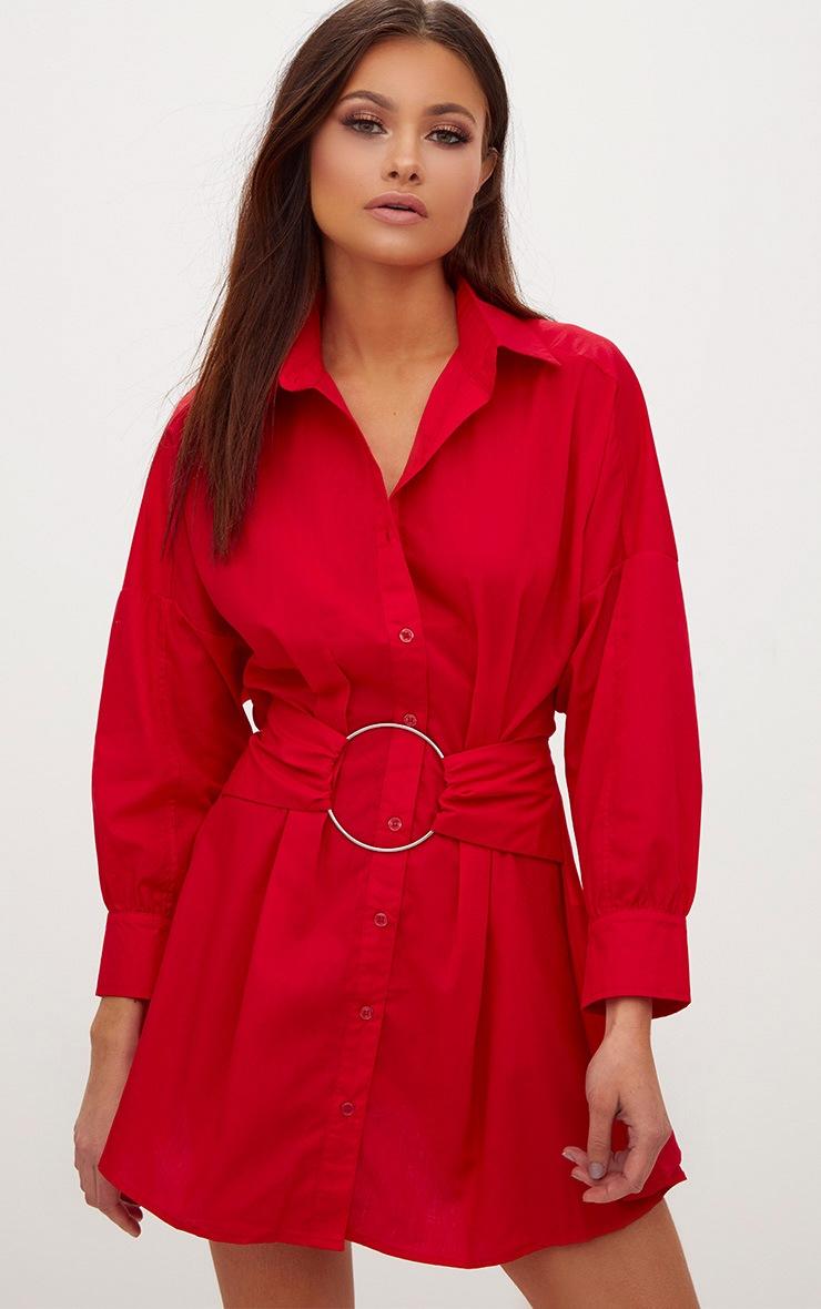 Red Ring Waist Detail Shirt Dress 4
