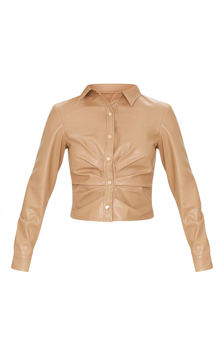 Cream PU Ruched Button Stand Fitted Shirt 5
