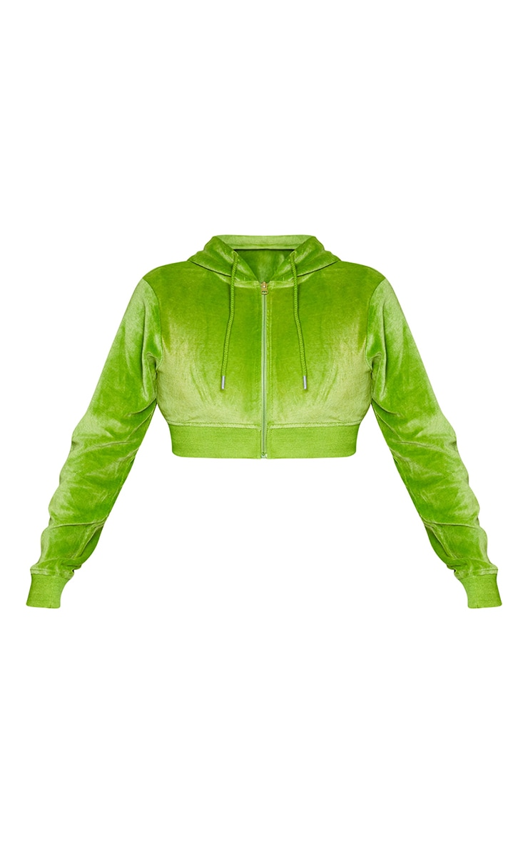 PRETTYLITTLETHING Shape Lime Velour Extreme Crop Sweater 5