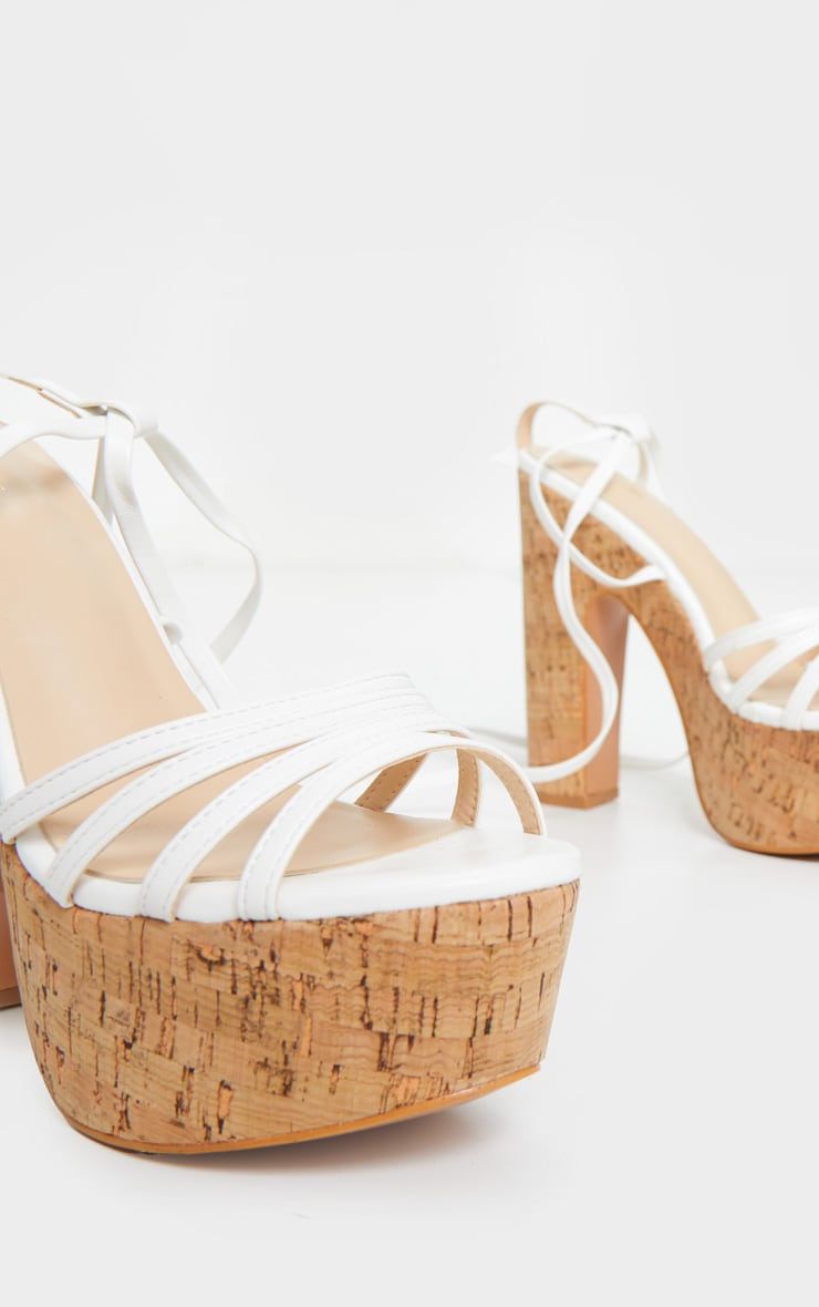 White Multi Strappy Ankle Tie Cork Platform Heeled Wedge Sandals 4