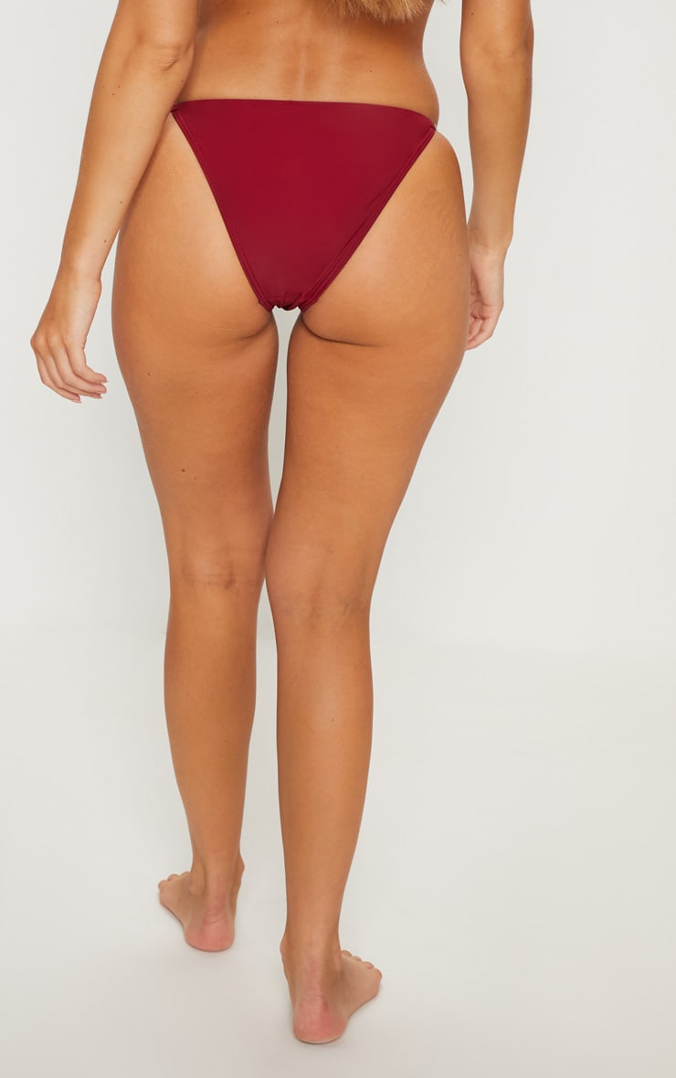 Burgundy Diamante Strap Bikini Bottom 4