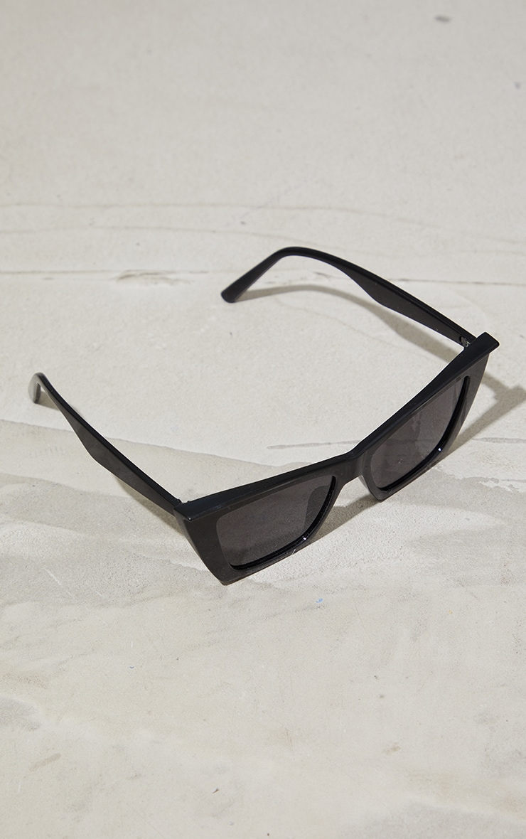 Black Pointed Square Slim Cat Eye Sunglasses 2