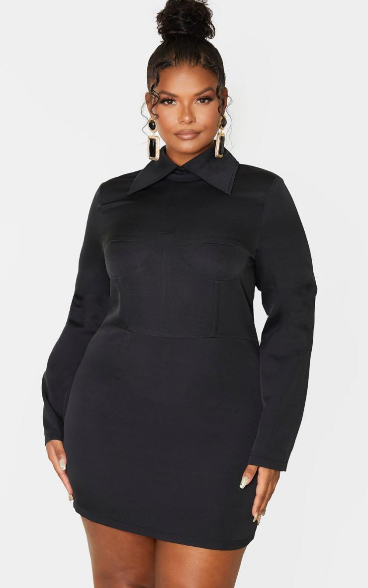 Plus Black Corset Detail Shirt Dress 1
