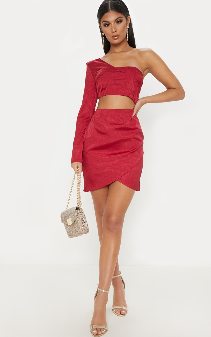 Burgundy Hammered Satin One Shoulder Cut Out Bodycon Dress 1