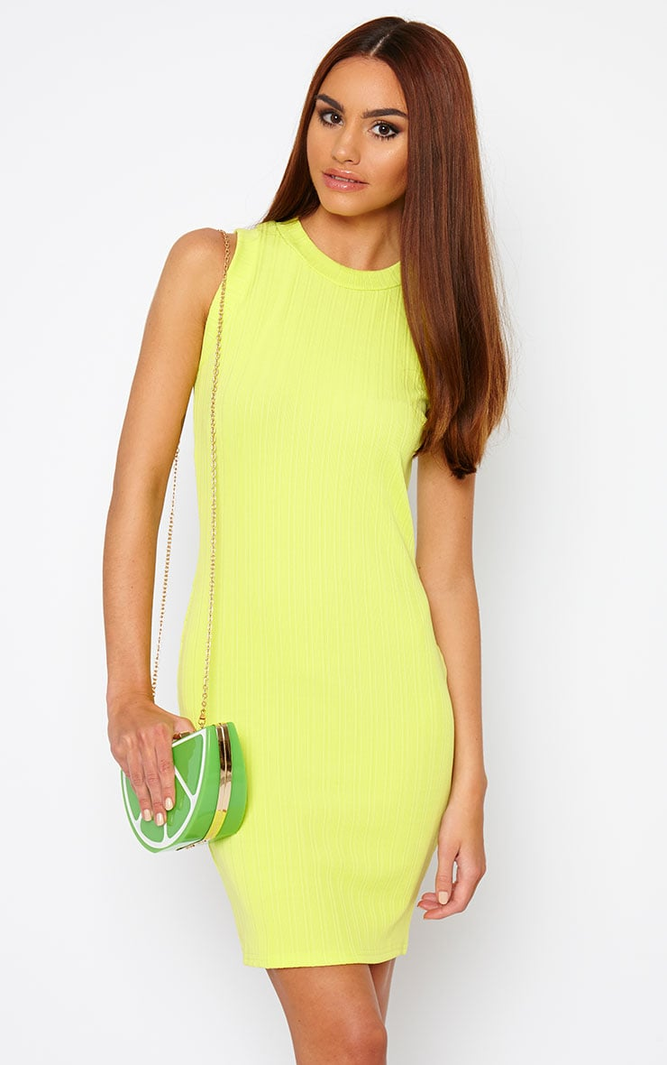 Stefany Lime Ribbed Mini Dress 1