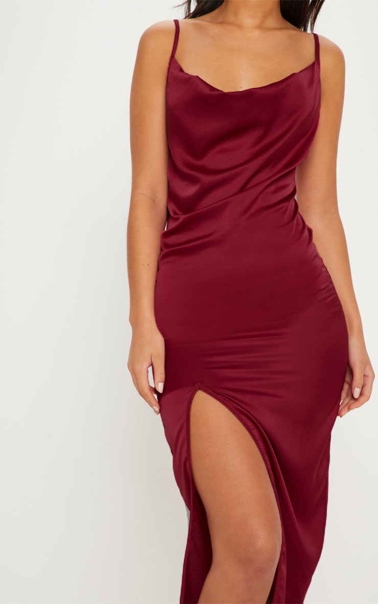 Burgundy Strappy Satin Cowl Midi Dress 5