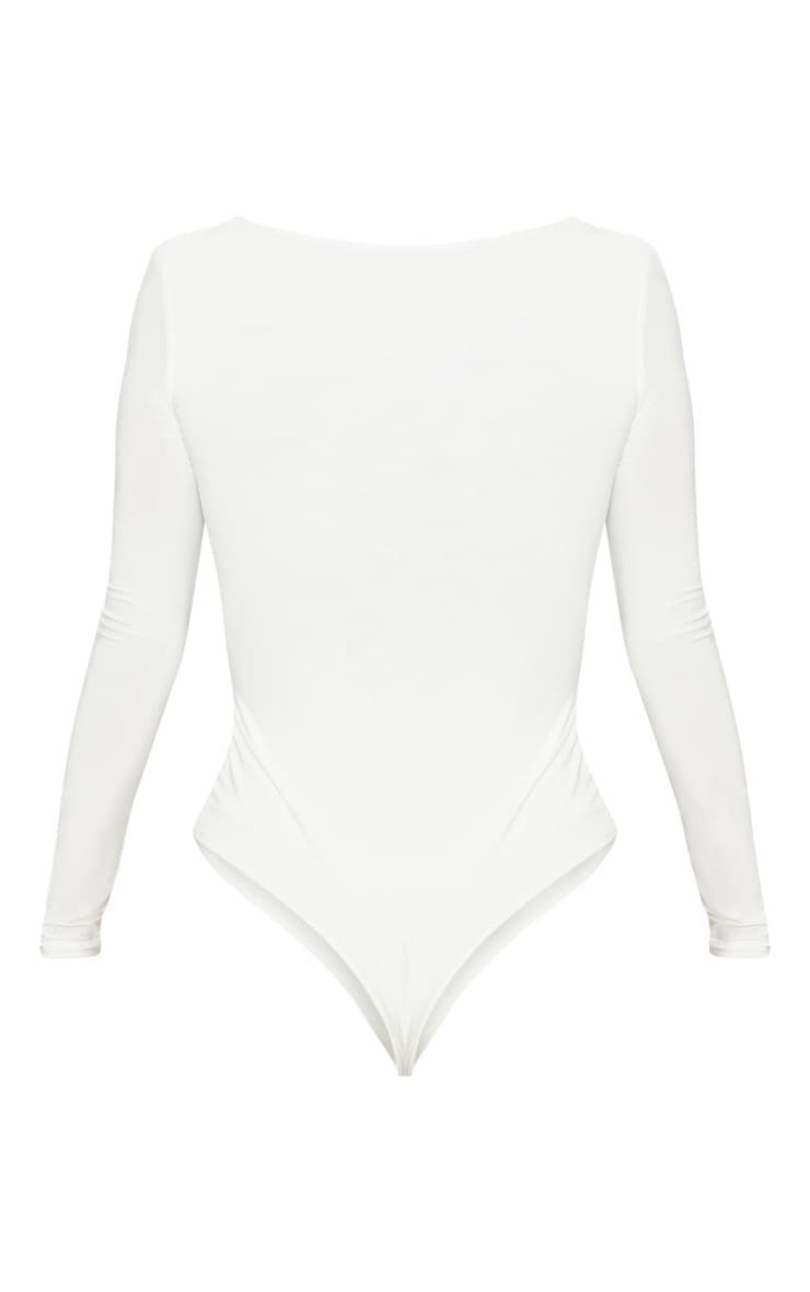 Cream V Neck Slinky Bodysuit 3