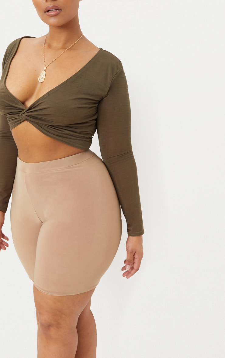 Plus Khaki Slinky Twist Front Crop Top 5