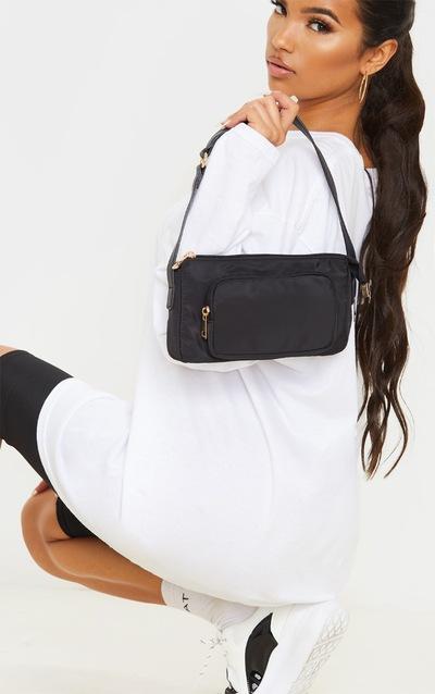 Black Nylon Pocket PU Strap Shoulder Bag