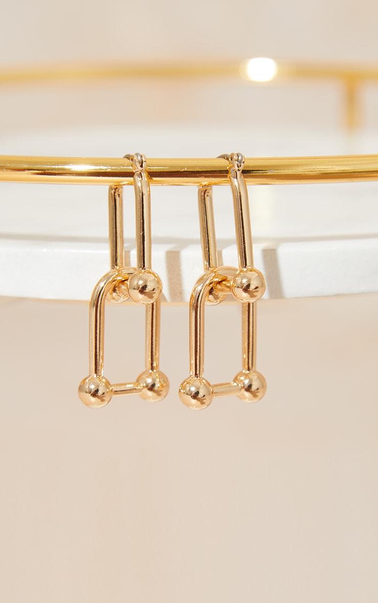 Gold Ball Link Earrings 2