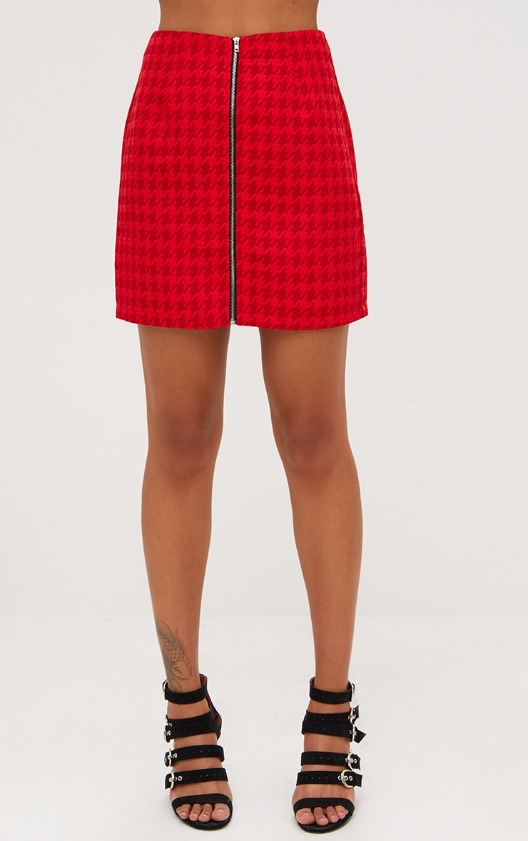 Red Jacquard Dogtooth Front Zip Mini Skirt 2