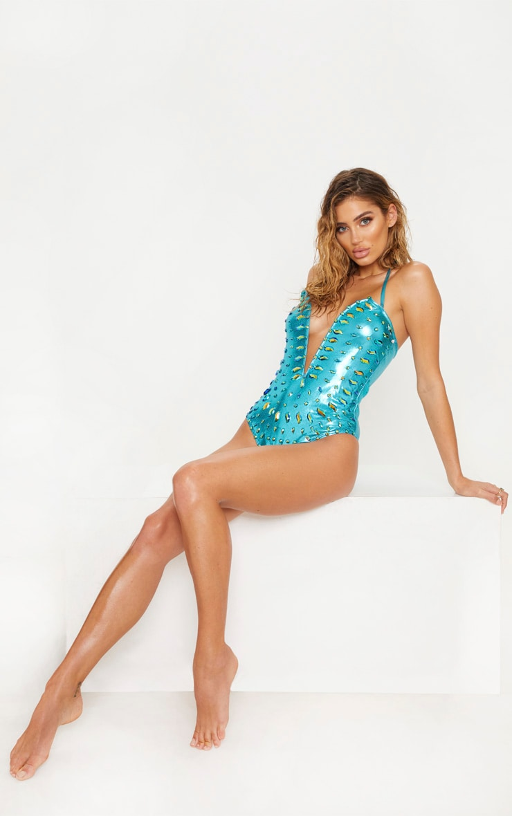 Premium Blue Jewelled Deep Plunge Wired Pool Party Costume 6
