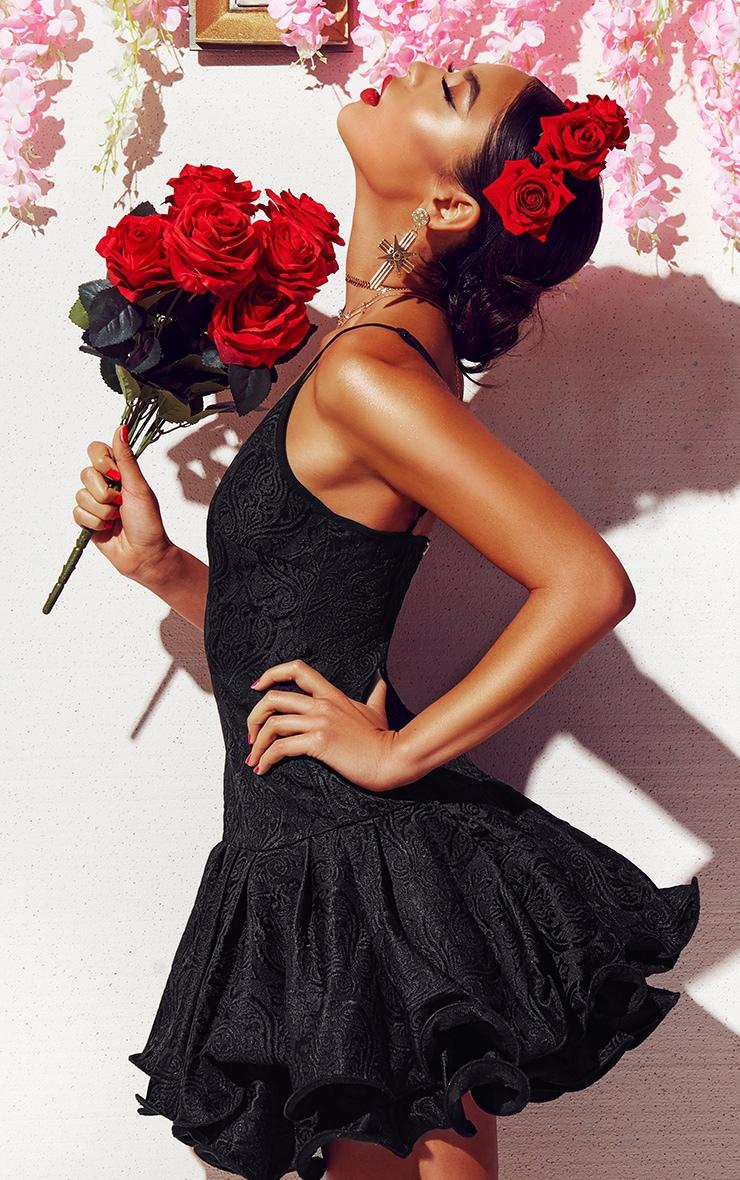 Black Jacquard Plunge Frill Drop Hem  Dress 7