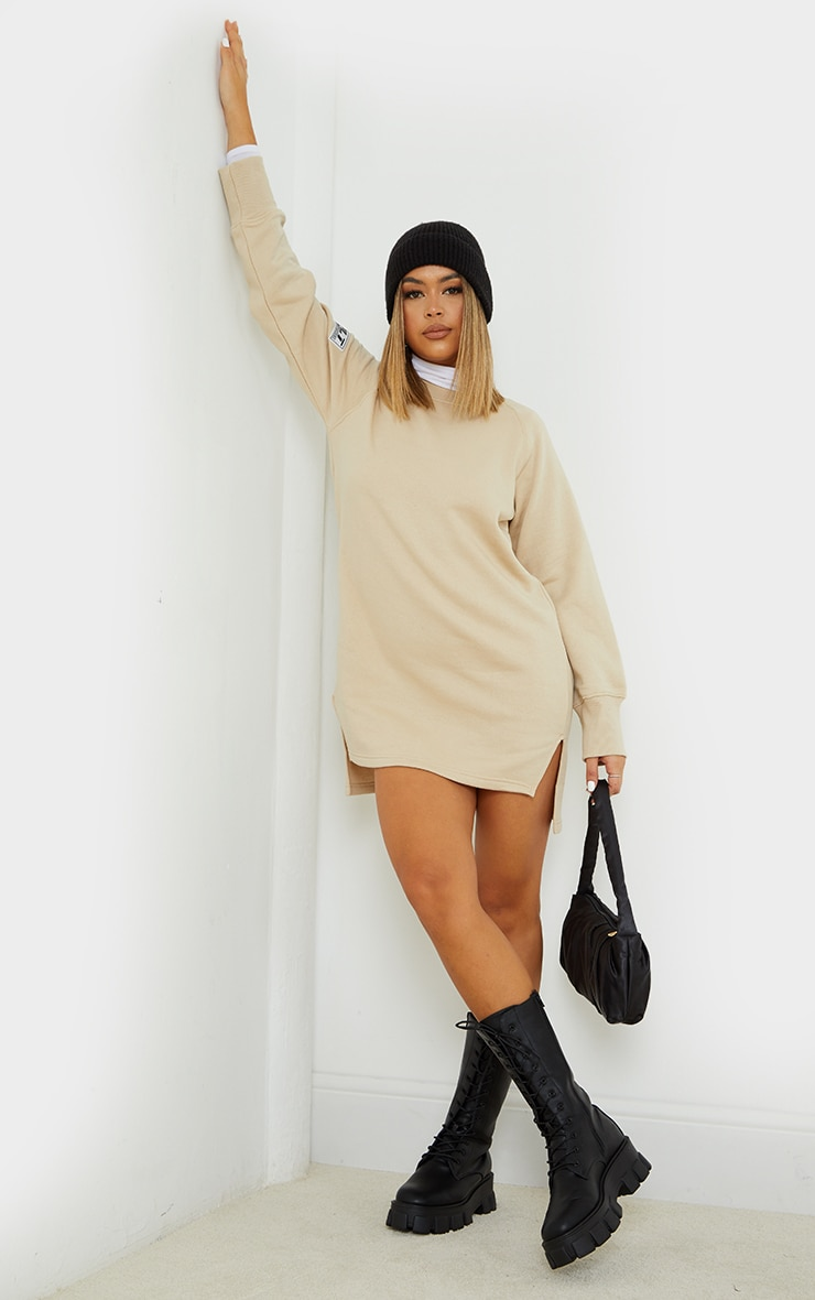 PRETTYLITTLETHING Stone  Slogan Dip Hem Sweat Sweater Dress 3