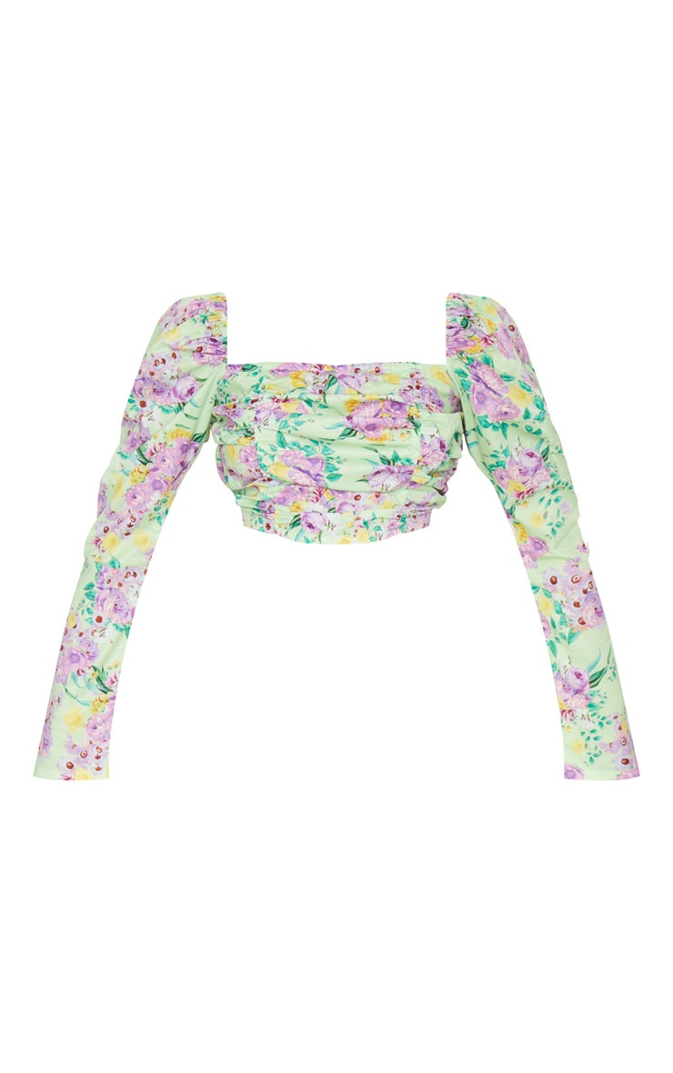Lilac Floral Print Ruched Front Crop Top 5