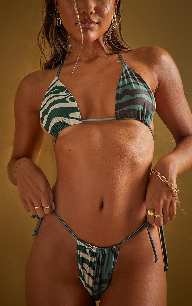Khaki Zebra Contrast Tie Side Bikini Bottoms 1