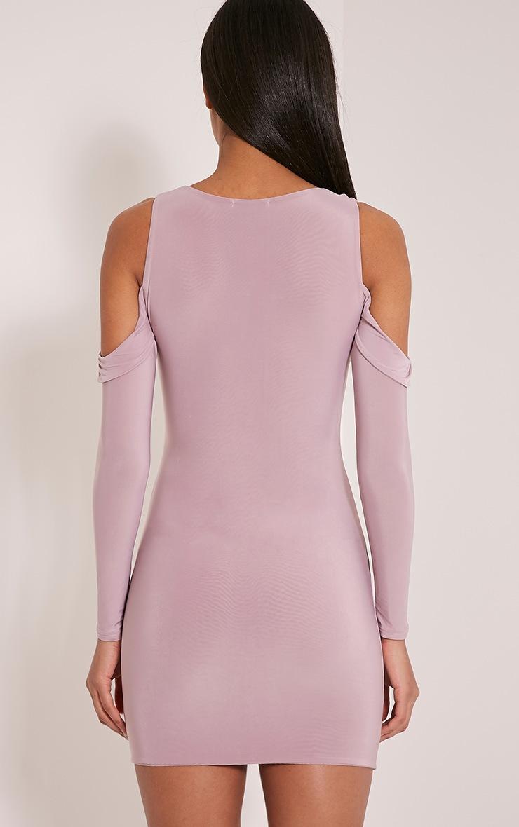 Darlia Mauve Cold Shoulder Frill Detail Mini Dress 2