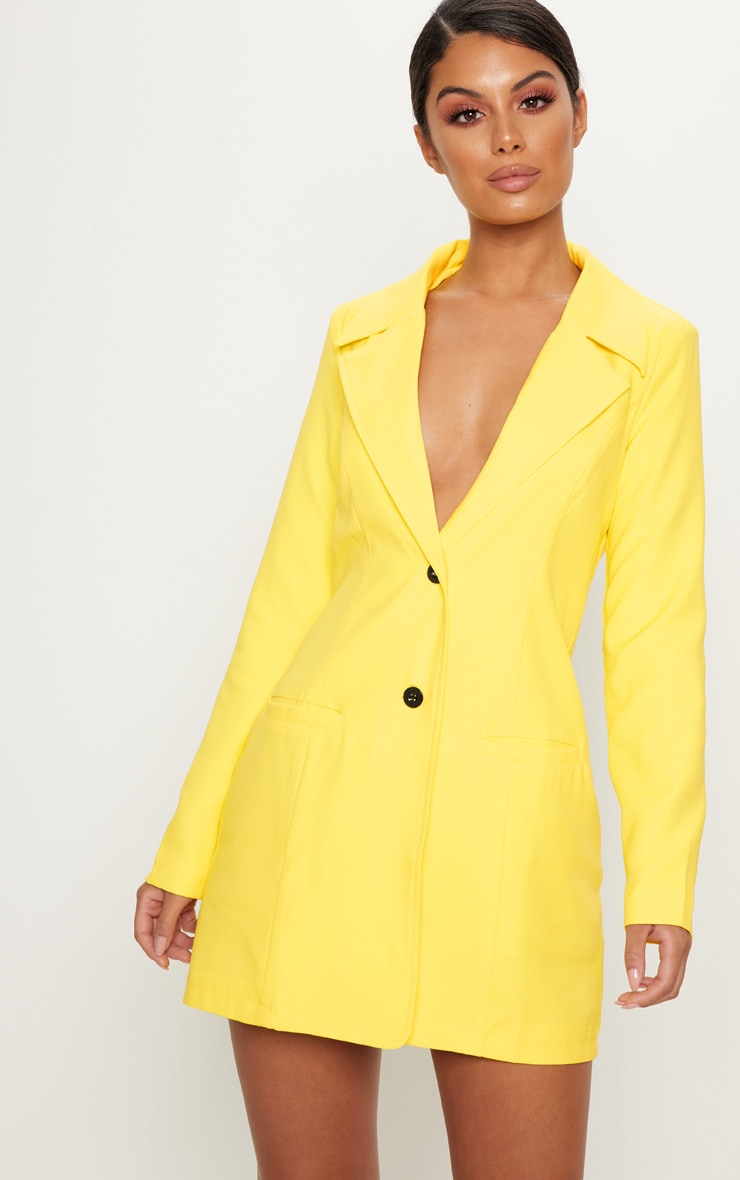 Yellow Plunge Contrast Button Button Blazer Dress 1