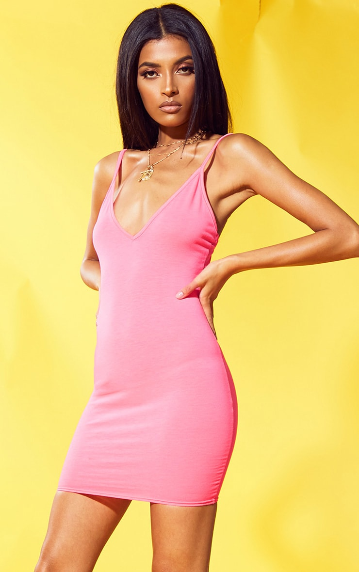 Neon Pink Strappy Plunge Bodycon Dress