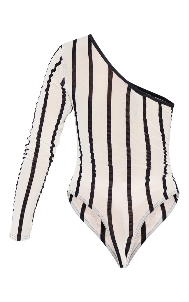 Nude One Shoulder Mesh Velvet Stripe Bodysuit 4