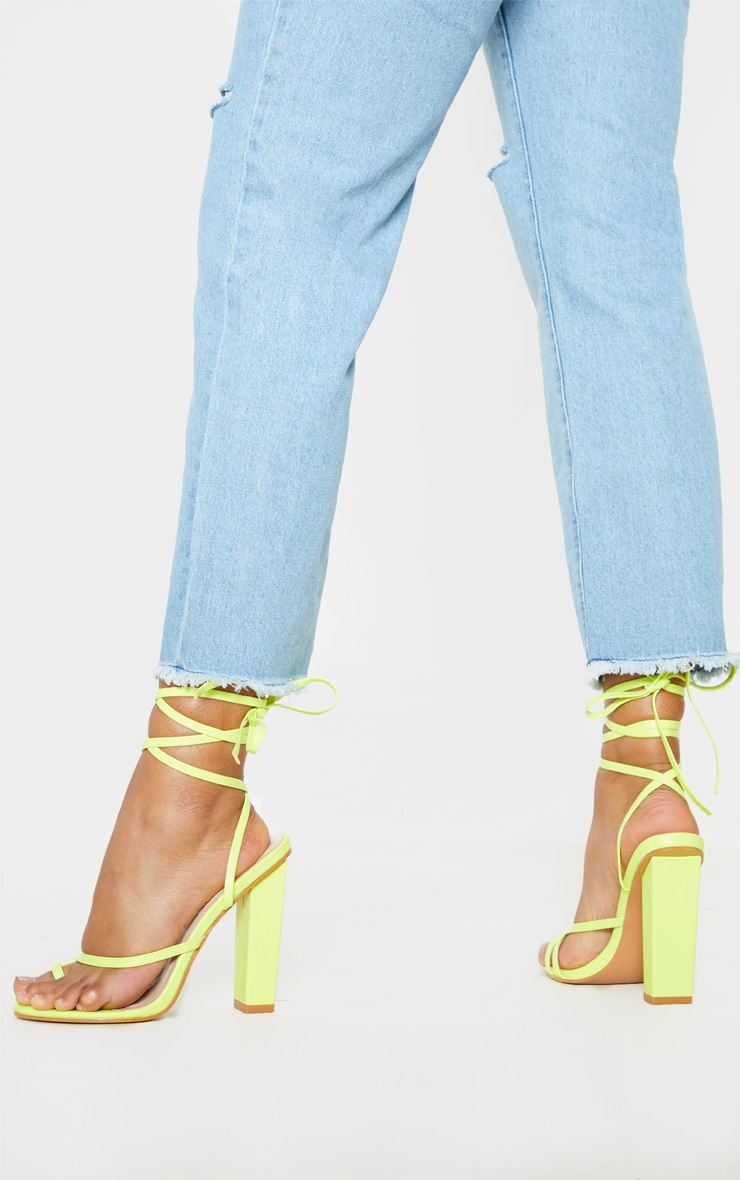 Neon Yellow Toe Loop Heeled Sandal 2