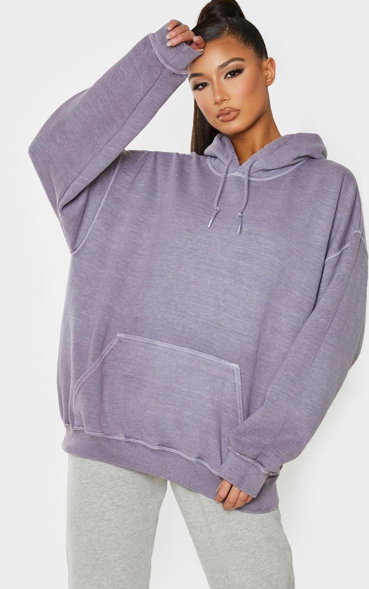 Charcoal Grey Washed Oversized Hoodie 1