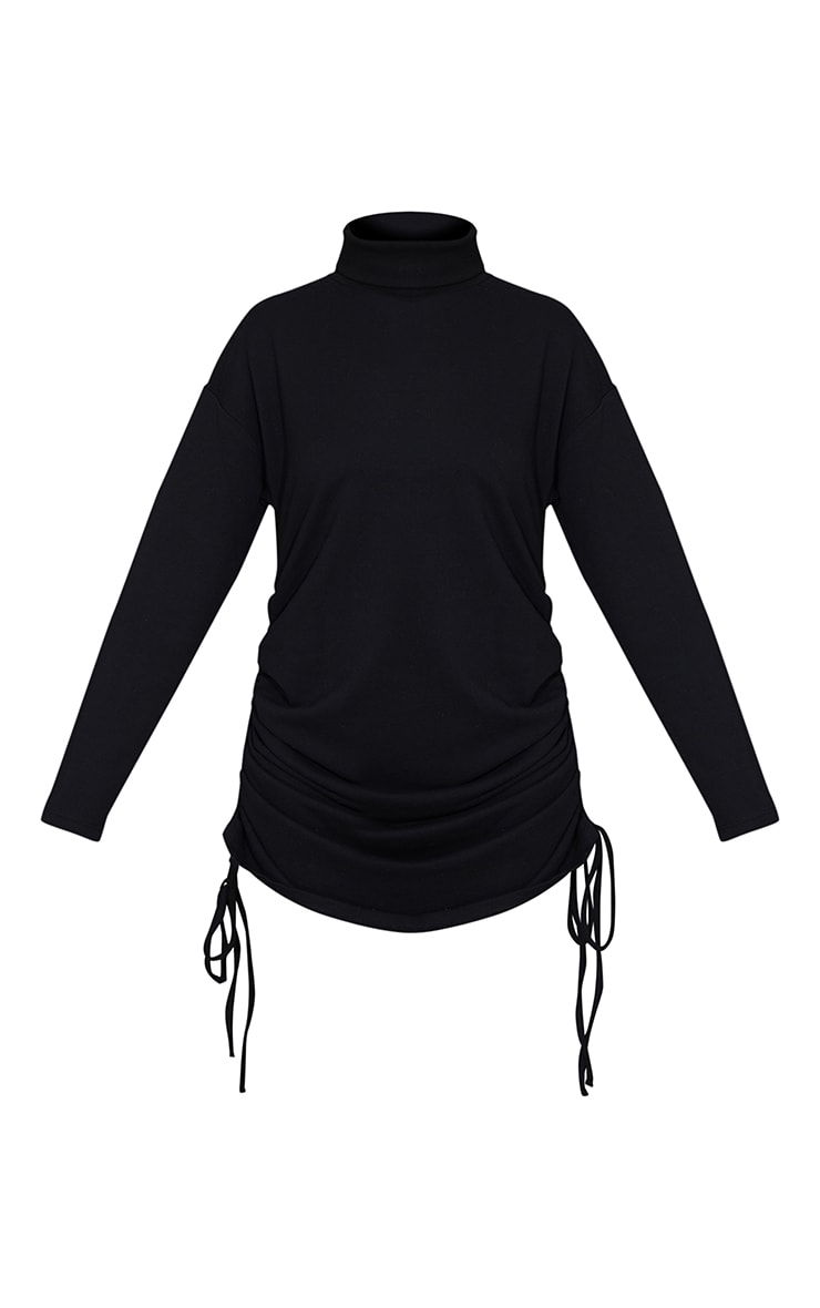 Black Roll Neck Ruched Side Long Sleeve Bodycon Sweat Dress 5
